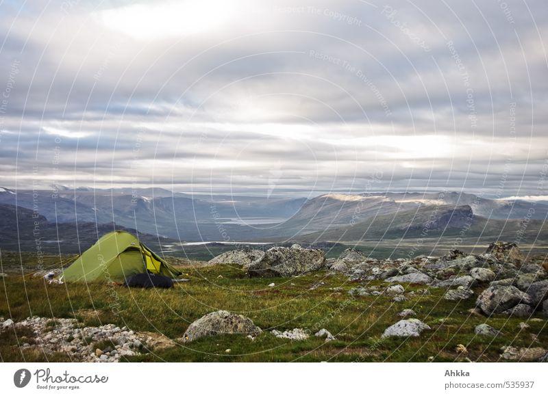 dort wohn' ich harmonisch Wohlgefühl Zufriedenheit Sinnesorgane Erholung ruhig Meditation Berge u. Gebirge wandern Wohnung Landschaft Wolken Gras Felsen