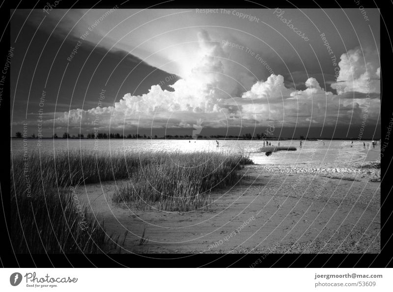 Weltuntergang Wasser Himmel Meer Sommer Strand Ferien & Urlaub & Reisen Wolken Gras Sand Landschaft Wellen USA Sturm Unwetter dramatisch Florida
