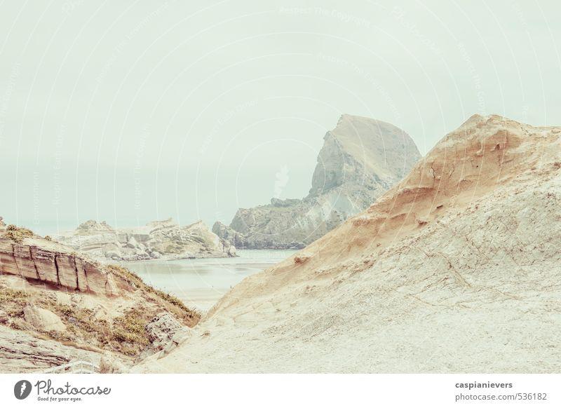 Felsküste Umwelt Natur Landschaft Wasser Himmel Sommer Schönes Wetter Strand Bucht Castlepoint Neuseeland Wahrzeichen braun grau weiß Neugier ruhig Windstille