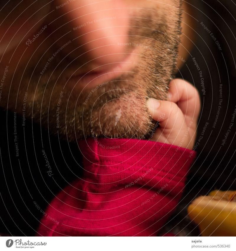 CDL - papa, du hast da was am kinn Mensch maskulin Baby Mädchen Mann Erwachsene Bart Hand Finger Kinn 2 0-12 Monate 30-45 Jahre festhalten stachelig rosa