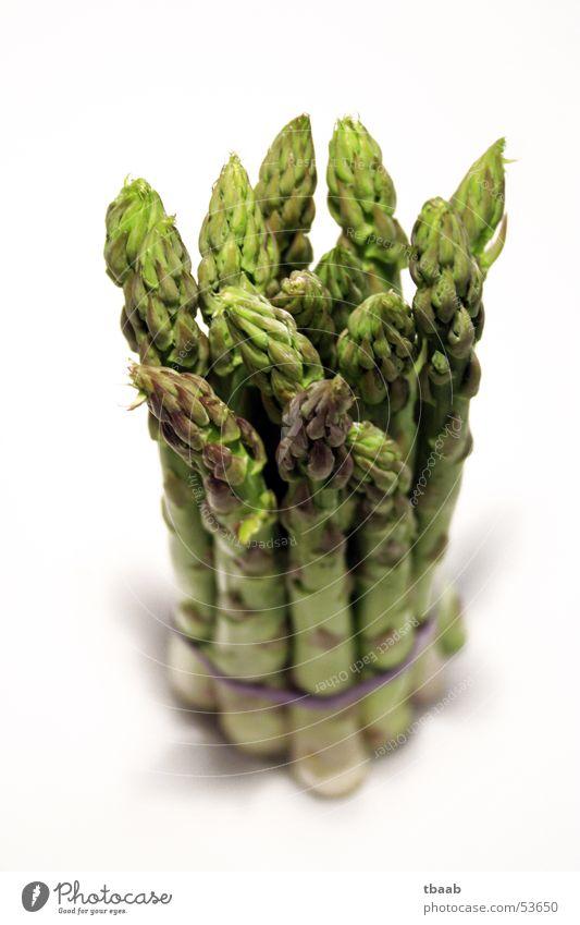 grüner Spargel im Bund Vitamin Gesundheit entwässern Spargelkopf häuten kochen & garen genießen Gemüse Makroaufnahme Nahaufnahme Frühling Bündel