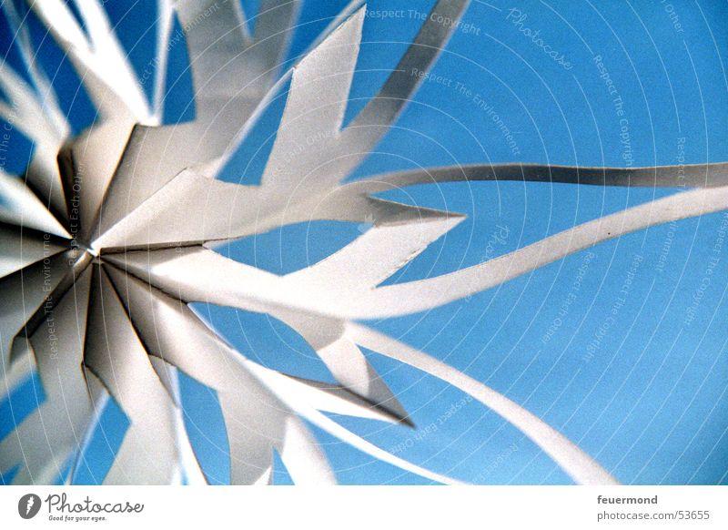 Papierkristall Himmel blau Weihnachten & Advent weiß Winter kalt Schnee Eis Papier Stern (Symbol) Kristallstrukturen Eiskristall Schneeflocke