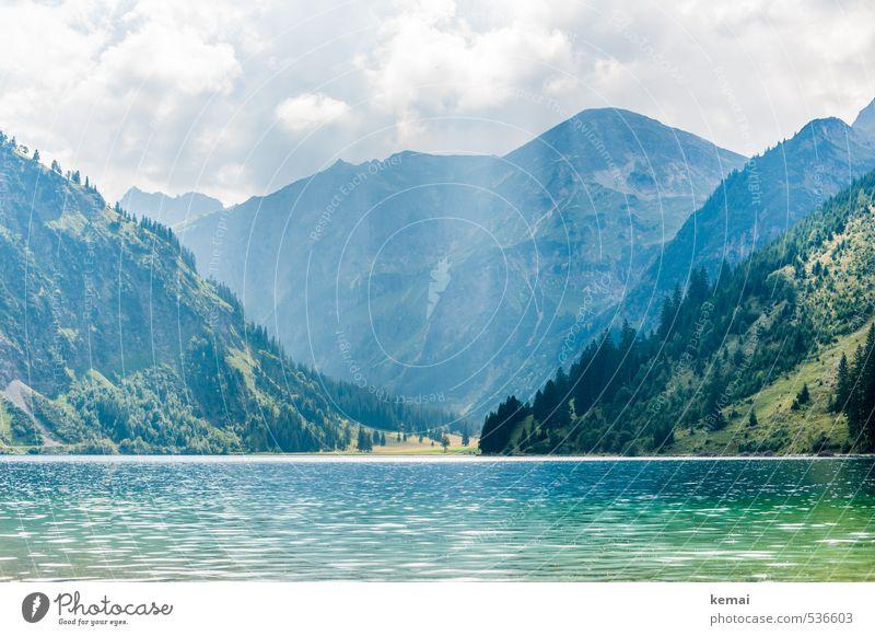 Bergsee Himmel Natur blau grün Wasser Sommer Baum Einsamkeit Landschaft ruhig Wolken Ferne Wald Umwelt Berge u. Gebirge Felsen