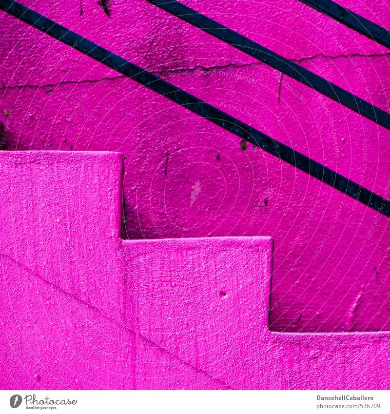 Stufendesign Mauer Wand Treppe Linie Streifen eckig Fröhlichkeit trendy einzigartig oben Sauberkeit unten rosa schwarz aufwärts abwärts Treppengeländer Strebe