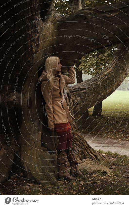 Auf Reisen Mensch feminin Junge Frau Jugendliche 1 Herbst Baum Park Wald Mantel blond stehen träumen Traurigkeit Gefühle Stimmung Liebeskummer Sehnsucht Heimweh