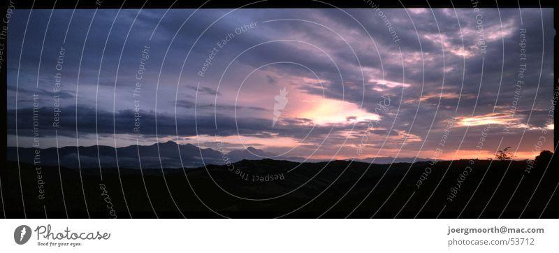 Abendstimmung Himmel Sonne Ferien & Urlaub & Reisen Wolken Landschaft groß Romantik Italien Panorama (Bildformat) Abruzzen Gran Sasso d'Italia