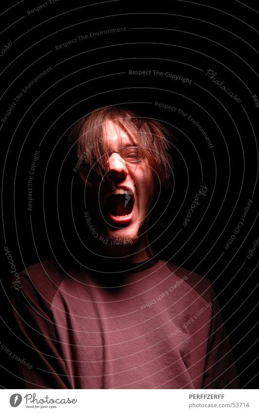 aaah! dunkel Haare & Frisuren Mund Zähne schreien böse laut