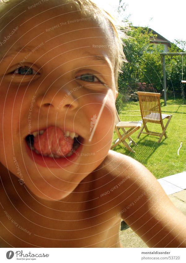 finde die Zahnlücke Kind Sonne Sommer Freude Gesicht Auge Spielen Gras Garten Glück lachen Haare & Frisuren Haut Arme Nase Zähne