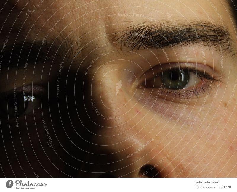 Staring at you Augenbraue Stirn Denken träumen Blick Porträt bewegungslos Gesicht eye eyes nose Nase thinking Stil skin Haut Falte Detailaufnahme Schatten