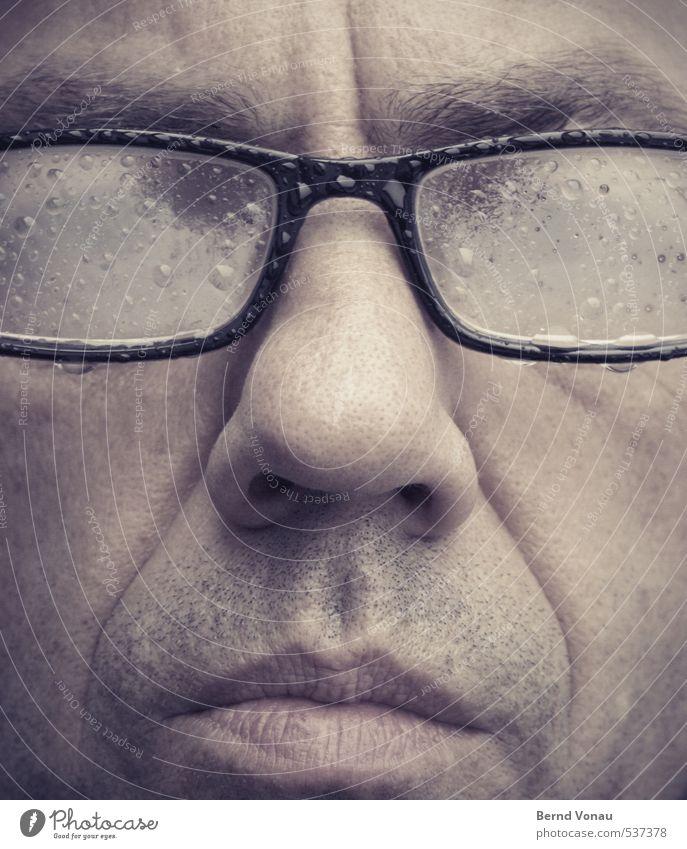reinkommen Mensch maskulin Mann Erwachsene Kopf 1 30-45 Jahre nass Wassertropfen tropfend Kondenswasser Brille Nase Mund Augenbraue blind kalt rot schwarz braun