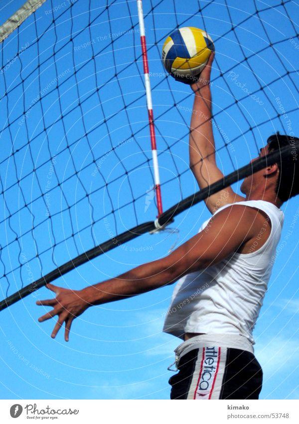 Beach Voley Mann Himmel Strand Spielen Aktion Ball Kugel Sport