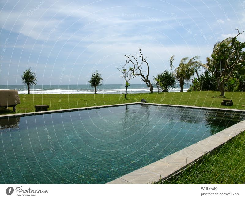 Bali Pool Schwimmbad Indonesien Ferien & Urlaub & Reisen Wiese Aussicht Meer Wellen Himmel Wasser