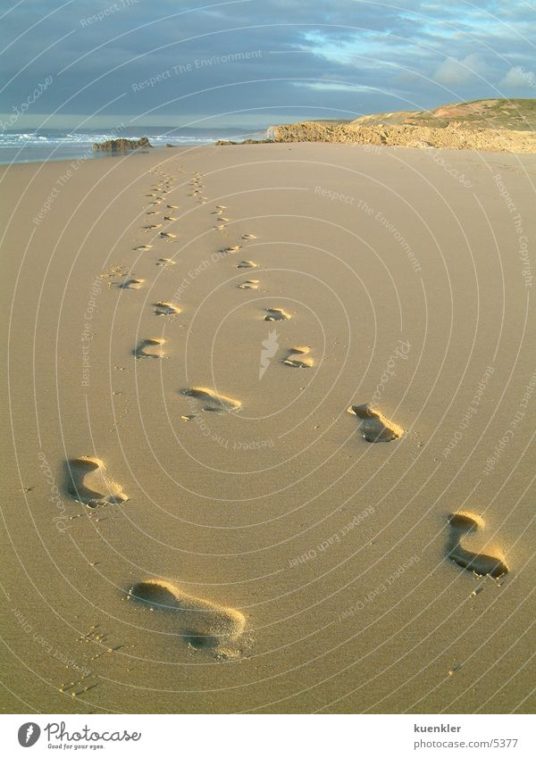 Fussspuren Strand Fußspur Meer Sand Wasser Barfuß
