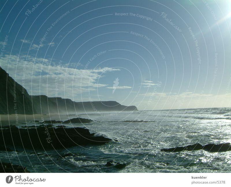 Atlantik Sonne Meer Strand Wellen Felsen Brandung Portugal Gischt