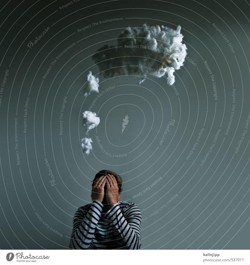 think Mensch Mann Hand Erwachsene Denken Kopf Schule maskulin Finger lernen Kreativität planen Idee Bildung Wissenschaften Gedanke