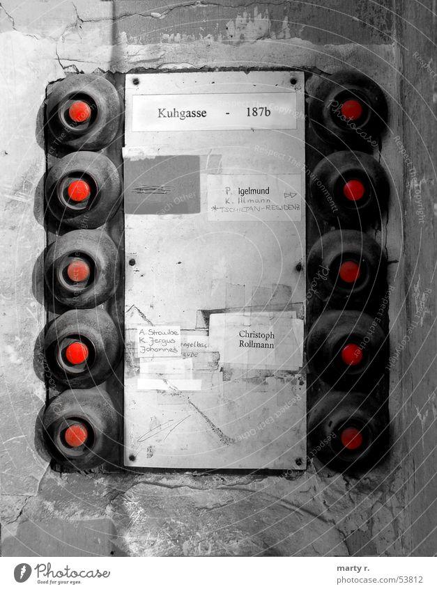 Red Bell rot Knöpfe schwarz weiß 10 Klingel namen Schilder & Markierungen