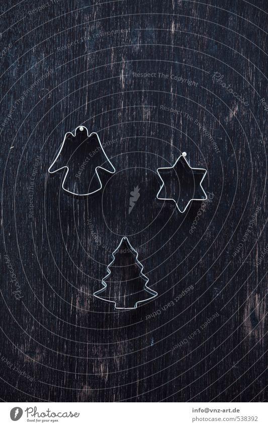 Plätzchenstecher Feste & Feiern schwarz silber Strukturen & Formen hängend Holz Stern (Symbol) Engel Gedeckte Farben Innenaufnahme Menschenleer