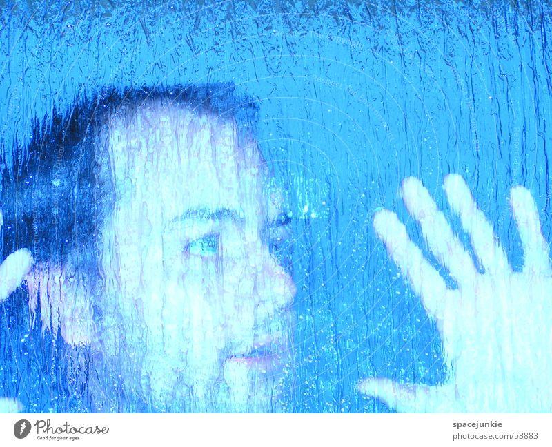 Verschwommen blau Gesicht Glas verrückt Glasscheibe