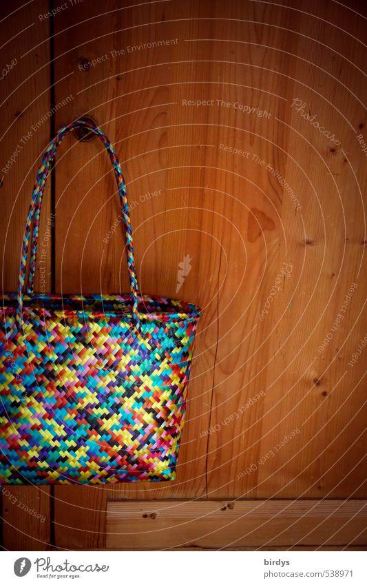 Taschenformat Lifestyle kaufen Stil Design Einkaufstasche hängen ästhetisch modern positiv schön braun mehrfarbig Reichtum Häusliches Leben Schrank Holz