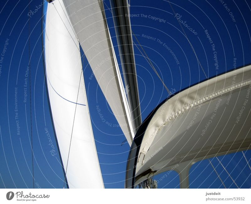 Wind in den Segeln Himmel weiß Meer blau Ferien & Urlaub & Reisen Freiheit Wasserfahrzeug Wind Segeln Strommast Ijsselmeer