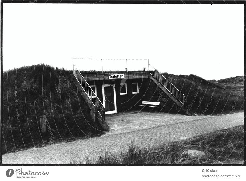 einsame Toilettten Einsamkeit schwarz weiß Gras Toilette Landschaft Stranddüne Schwarzweißfoto Treppe Wege & Pfade
