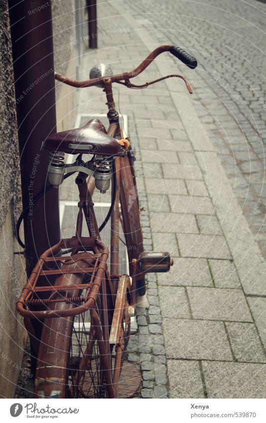 Rost am Rad alt Stadt braun Metall Fahrrad Pause retro Romantik Rost Kopfsteinpflaster Nostalgie Erinnerung bescheiden zurückhalten Fahrradsattel angelehnt