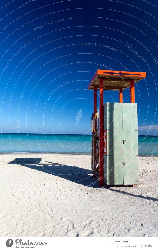 all along the watchtower Ferien & Urlaub & Reisen blau Sommer Meer ruhig Schwimmen & Baden Sand Lifestyle leer Sicherheit Sommerurlaub türkis Mallorca Sandstrand Rettung Wassersport