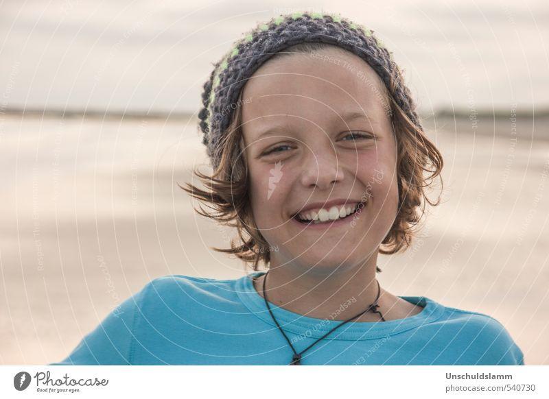 Lach Dich glücklich! Kind Junge Kindheit Jugendliche Leben Gesicht Zähne 1 Mensch 8-13 Jahre Sommer Strand Lächeln lachen authentisch Fröhlichkeit Gesundheit