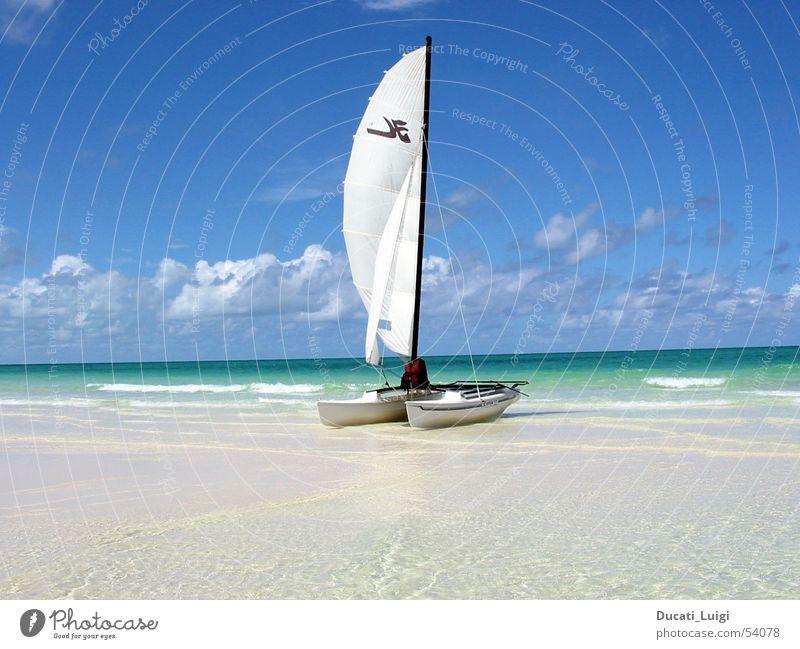 ready to go ... Strand Meer Segeln Katamaran Kuba Erholung Ferien & Urlaub & Reisen Schönes Wetter Sand baccardi Insel klares wasser flacher strand Freiheit