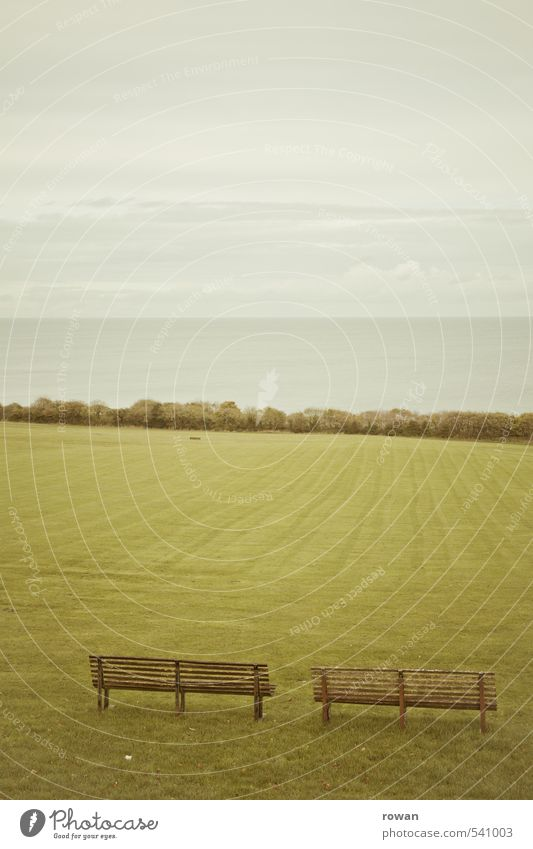 weite Natur Meer Erholung Landschaft ruhig Ferne Wiese Gras Horizont Luft Park Nebel leer Rasen Bank Meditation