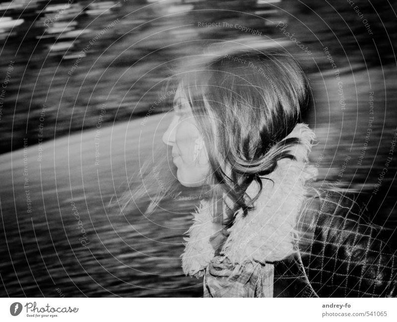 Schnelles Portrait. feminin Junge Frau Jugendliche Erwachsene 1 Mensch 13-18 Jahre Kind 18-30 Jahre Mode Jacke Leder Haare & Frisuren schwarzhaarig langhaarig