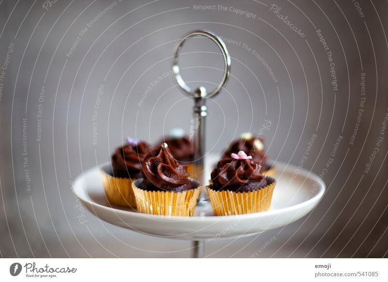 Goldstücke Kuchen Dessert Süßwaren Schokolade Ernährung Picknick Slowfood Fingerfood lecker süß braun grau Cupcake Kalorienreich Farbfoto Innenaufnahme