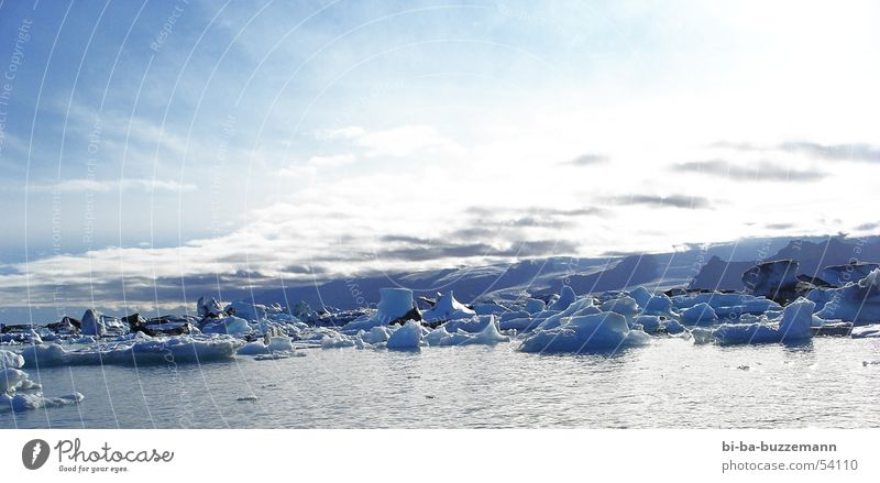 ewiges Eis Himmel weiß Meer blau Winter Wolken kalt Europa Island Grundbesitz Gletscher Eisberg Eisscholle