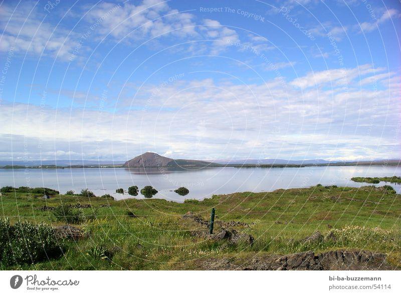 Island Meer Wolken Gras Wiese Zaun Frühling Freundlichkeit Himmel blau Reflexion & Spiegelung Berge u. Gebirge hell