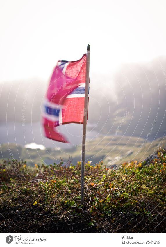 Norwegische Flagge Landschaft Berge u. Gebirge Fahne sportlich winken Begrüßung Norwegen Abschied klein oben rot Wind ausrollen Flügel Skandinavien Lofoten
