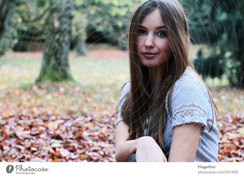 leise feminin Junge Frau Jugendliche 1 Mensch 18-30 Jahre Erwachsene sitzen Wald Baum Blick verträumt Einsamkeit Herbstlaub kalt T-Shirt langhaarig Farbfoto