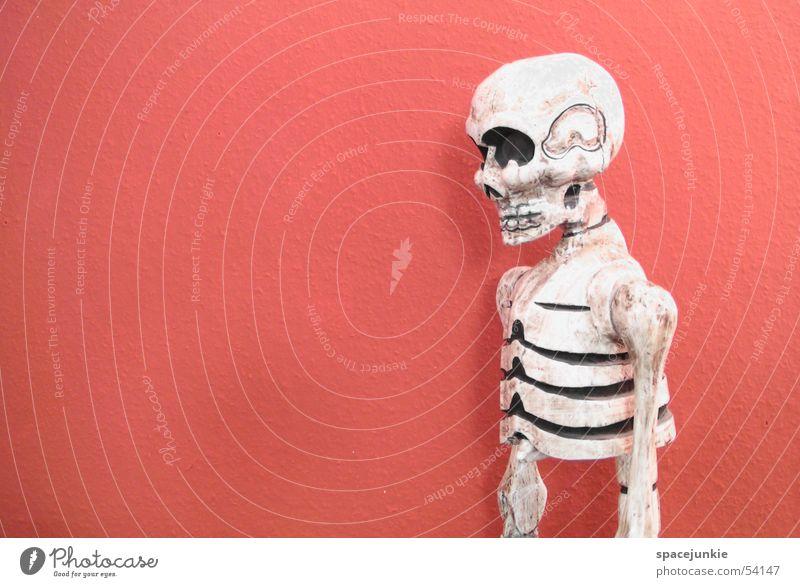 Fremdes Wesen Skelett Wand rot unheimlich Schädel Schatten Tod