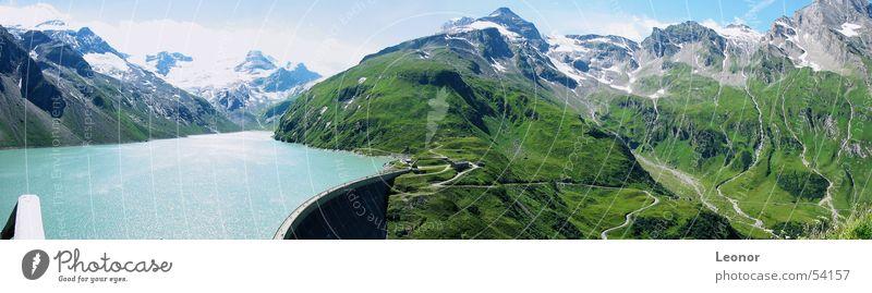 Panorama Kapruner Stausee Mooserboden Himmel blau Wasser weiß grün Ferne Wiese Schnee Berge u. Gebirge Mauer See hell Eis wandern hoch groß