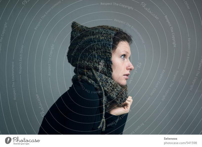 Zweiteiler Winter Mensch feminin Frau Erwachsene Kopf Gesicht 1 Mode Bekleidung Accessoire Schal Mütze frieren kalt weich gestrickt Handarbeit stricken