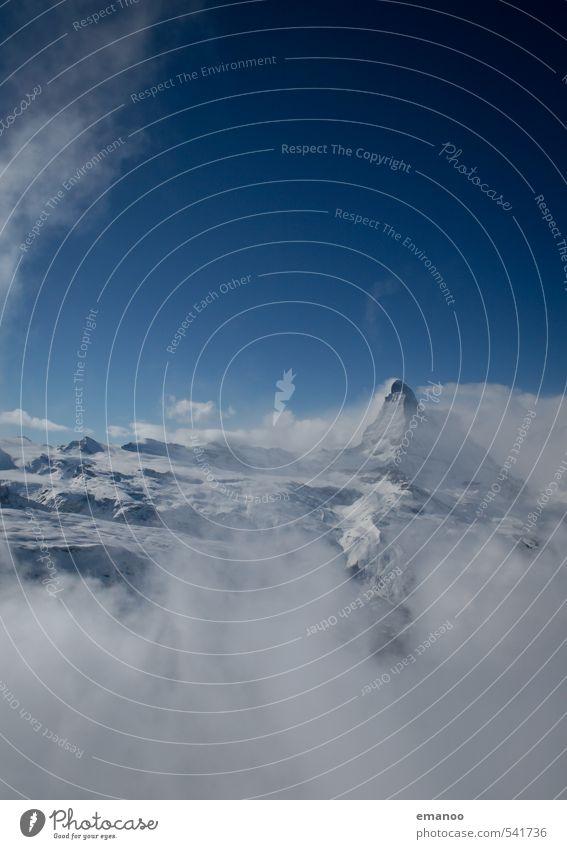 Die Geschichte vom Winter Himmel Ferien & Urlaub & Reisen blau Landschaft Wolken Winter Berge u. Gebirge kalt Schnee Felsen Tourismus Wetter Nebel Eis Spitze Klima