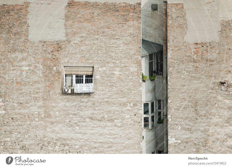 Freiheitskampf in Balkonien Stadt Einsamkeit Haus Fenster Wand Mauer Architektur Gebäude grau außergewöhnlich braun Fassade Wohnung Häusliches Leben trist