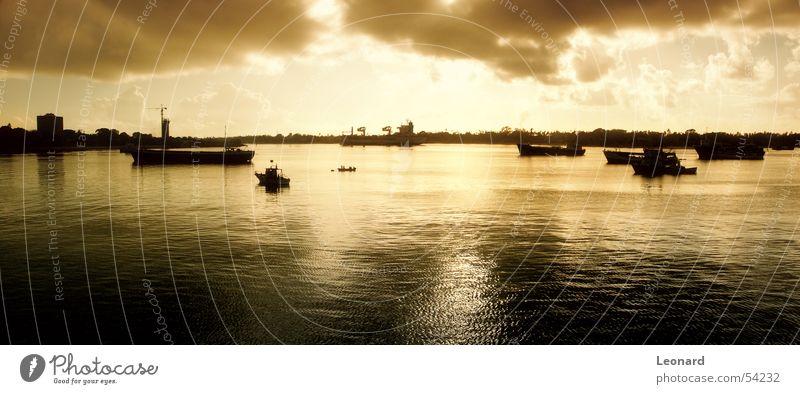 Tanzanian Sonnenuntergang Himmel Meer Wolken Wasserfahrzeug Afrika Hafen Segel Segelschiff Portwein