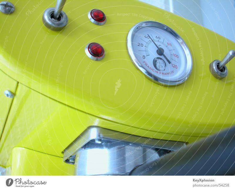 Francis & Francis hautnah gelb Kaffee Maschine Begierde Schalter Espresso klassisch Kaffeemaschine Druckanzeige Kaffeesucht