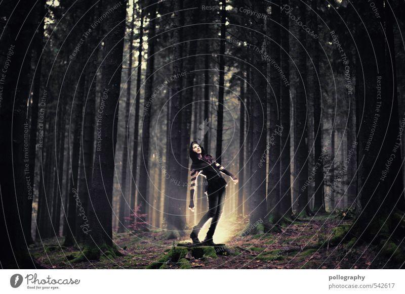 die kleine Fee Lifestyle Mensch feminin Junge Frau Jugendliche Erwachsene Leben Körper 1 18-30 Jahre Umwelt Natur Landschaft Pflanze Herbst schlechtes Wetter