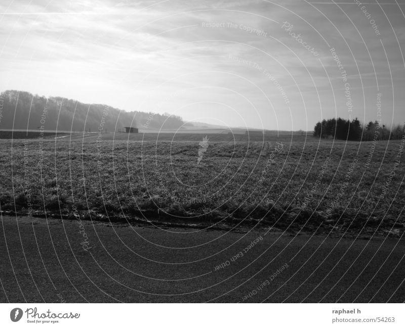 Winterlandschaft Wiese Nebel Ferne Horizont Feld Landschaft Himmel Scheune