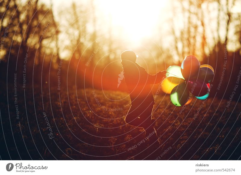 meine luftballons und ich v Mensch maskulin Kind Junge Kindheit Leben 1 3-8 Jahre 8-13 Jahre Herbst Schönes Wetter Wiese Wald rennen frei Freundlichkeit