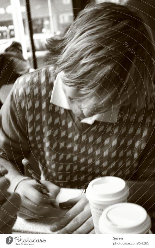 Schreibmaschine Haare & Frisuren Pause Kaffee lesen schreiben Sepia Getränk Kugelschreiber Schreibstift Tagebuch