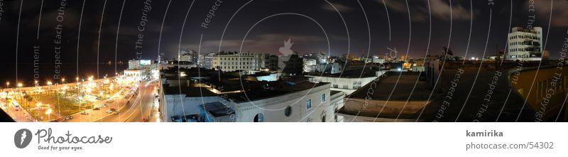 alexandria bei nacht Meer Stadt groß Skyline Panorama (Bildformat) Straßenkreuzung Ägypten Nachtleben Afrika Alexandria
