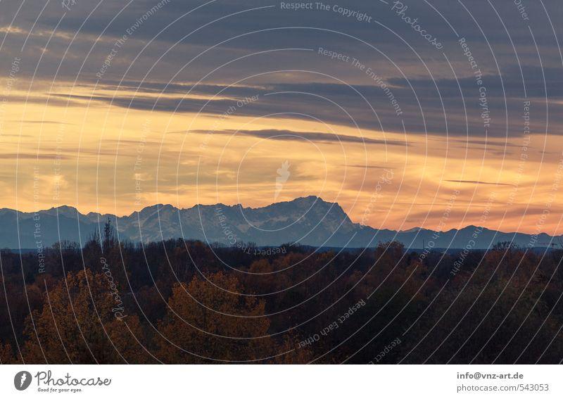 Alpenstimmung Umwelt Natur Landschaft Himmel Wolken Sonnenaufgang Sonnenuntergang Wetter Wald Felsen Berge u. Gebirge gelb Stimmung Farbfoto Außenaufnahme