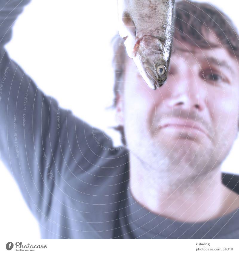 Duft I Mann glänzend Lebensmittel Fisch Quadrat Geruch unrasiert hochhalten Übelriechend